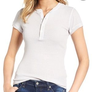 James perse ribbed buttons t-shirt cream cotton